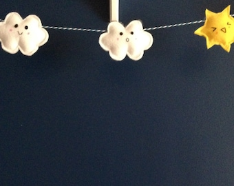Kawaii Felt Clouds and Sun Garland