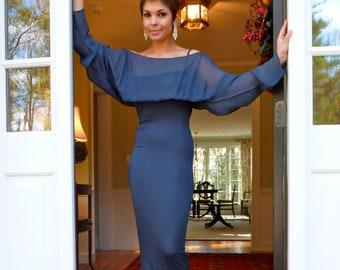 Dolce Gabbana Evening Dress Slate Blue Tube Chiffon Nineties NEW Body Con Conscious Column Gown