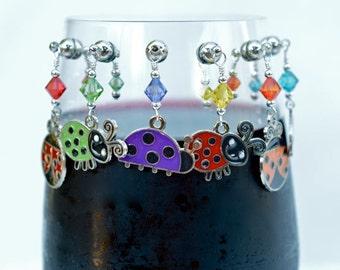 Wine Charms (6 magnetic Ladybug)