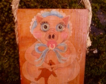 Little piglet painting on reclaimed wood piece