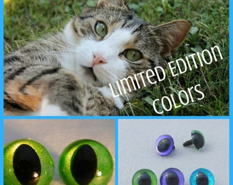 Cat Safety Eyes 12 Pair Limited Edition Colors 10mm to 15mm SLIT Pupil Safety Eyes Kitten Dragon Frog Fairy Sew Crochet Amigurumi (SPSP2018)