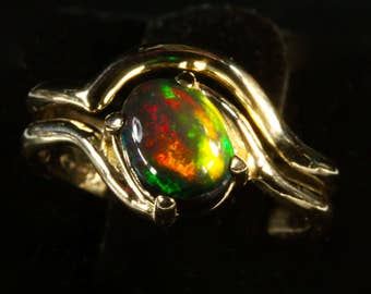 Black Opal Engagement Ring Wedding set.With Optional Stackable Wedding Band.Your choice of opal. Black opal, White opal, Opal Triplet