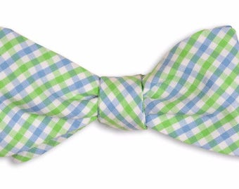 Green and Light Blue Tattersall Bow Tie