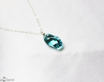 Swarovski necklace, turquoise crystal pendant, simple everyday jewelry, Seafoam green blue, elegant modern style, geometric shape
