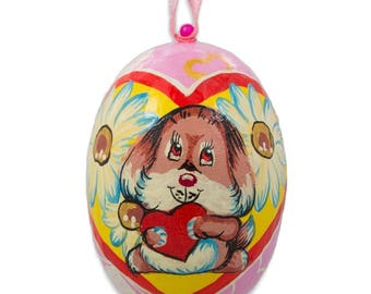 """3"""" Cute Puppy Dog with Heart Wooden Christmas Ornament"""