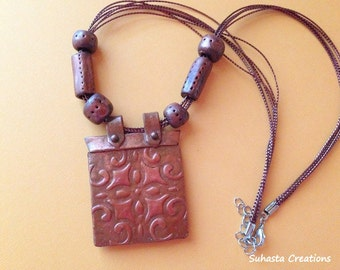 Boho Bronze clay Necklace, Earthy clay necklace, Rectangular clay necklace, boho necklace,causal wear jewelry,embossed pendant,funky jewelry