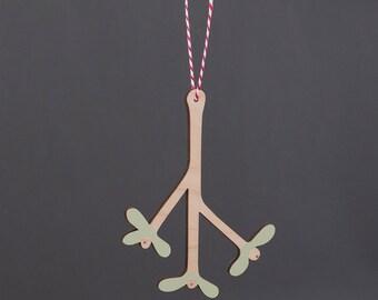 Wooden Mistletoe - hanging Mistletoe decoration - Christmas ornament - Christmas tree decoration - Christmas Decoration