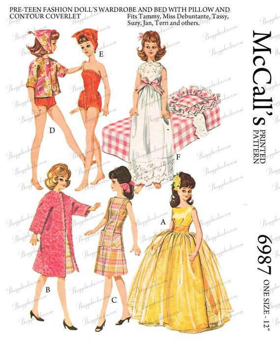 Vintage McCalls 6987 - for 12 inch dolls, vintage doll sewing ...