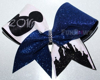 Amazing Special Event Mickey Castle Cheer Bow by FunBows !