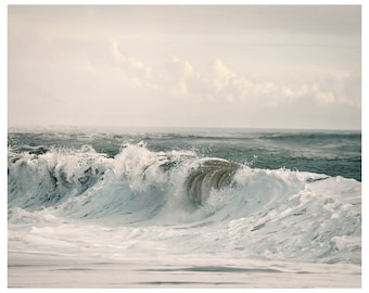 Ocean waves art Beach photography, Surf art Coastal wall art Extra large art print Oversized art White wall art water Sea poster 30x30 24x36