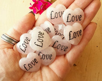 Rose Quartz Hearts, Healing Crystals, Rose Quartz, Love Hearts, Witchcraft Crystals, Witchcraft Supply, Wicca Crystals, Witch, Wicca Supply