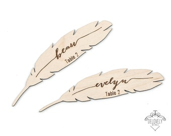 Boho Feather Name Place Card / Tag - Laser engraved and cut wood