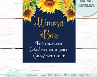 Sunflowers Mimosa Bar Sign, Bridal Shower, Instant Download, Navy and Gold Glitter, Bachelorette Party, Wedding, Decor, 40S