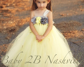 Flower Girl Dress  Wedding Flower Girl Dress in Yellow and Gunmetal up to size 6 Girls