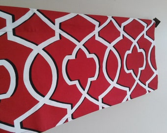 Red Valance on Sale,  Red and White Geometric Valance, Window Treatment, Ships Fast