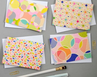 Set of 8 Spot print notecards / Thank you cards /Party invitations / Gift for her