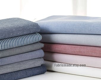 Chambray Oxford Cotton Fabric- Grey Blue Yellow Cotton Fabric, Yarn Dye Stripes Fabric - 1/2 Yard