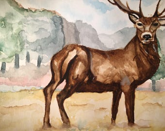 Watercolour Stag Painting