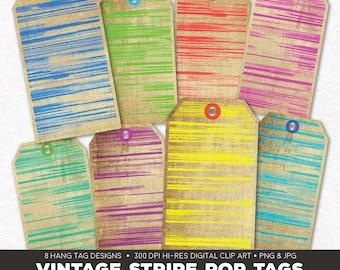 Digital Collage Sheet • Vintage Stripe Pop Printable Hang Tags• 8 Instant Download Hangtag & Gift Tag Designs • JPG PNG