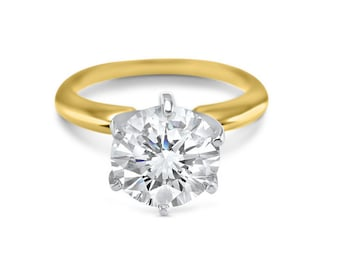 2 carat 8mm round 14k Yellow Gold Moissanite solitaire engagement ring 6 prong Forever ONE -  3 Carat 9mm round Forever ONE-classic bridal