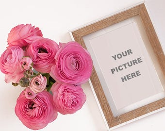 Ranunculus with frame  - INSTANT DOWNLOAD - Styled Stock - Styled photography - Photography - Ranunculus Photography - Frame - Stock