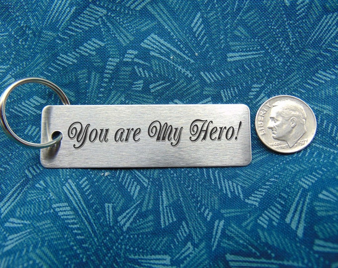 Stainless Steel Keychain Your handwriting or computer font - personal message custom made Key Chain Laser Engraved - Brushed Stainless Steel