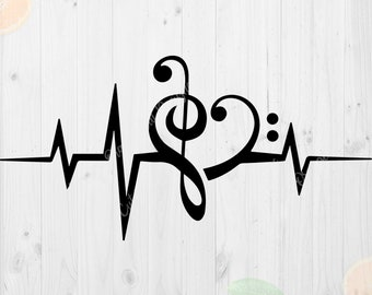 Music Heartbeat Svg, Music note svg, Music svg file, Heartbeat Cutfiles, Music love svg files for Cricut, Silhouette cameo, Musical note svg
