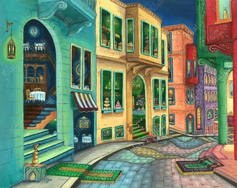 Print, poste, North American Islamic Art, Canadian Artwork, realism, Muslim Architecture, oil, Heaven, peaceful night, cityscape modern