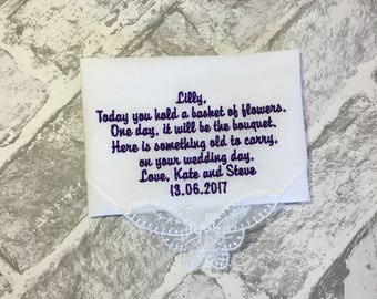 Flower girl gift, wedding handkerchief, flower girl keepsake, something old, personalised wedding gift, embroidered handkerchief