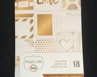 Project life, 18 3x4 cards, golden, paper crafts