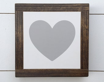 7x7   Gray Heart Mini Sign