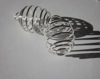 stretchy 2 cages for beads (1) bright silver metal