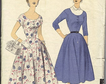 1954 Misses Dress and Dickey pattern Advance 6756