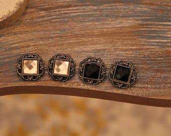 Vintage Inspired Black or Off White Large Stud Earrings!