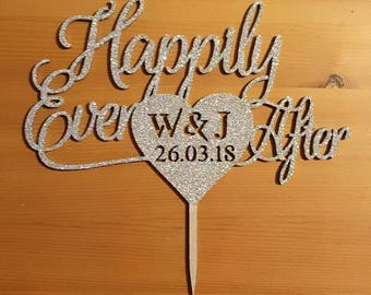 Happily Ever After Cake Topper, Custom Cake Topper, Wedding Decorations, Engagement Cake topper, Date and initials, Personalised