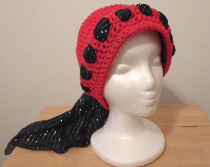 Crochet Cap Size 21 inches - Made with Red Acrylic Yarn