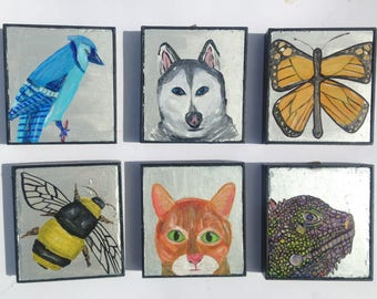 Dog Cat Bird Bee Lizard Butterfly  Paintings ORIGINALS 6x6.5  by Anthony Saldivar Art Backyard Animals
