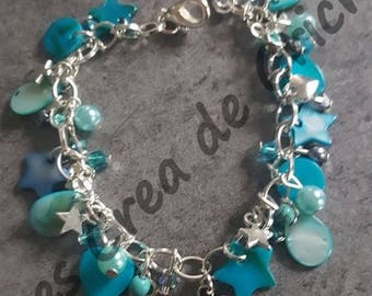 Pearly turquoise charm bracelet