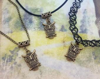 Owl Choker, Bird Necklace, Woodland Jewelry, Nocturnal Charm, Animal Pendant, Bronze Charm, Nightowl Jewellery, Night Shift Gift, Owl Tattoo