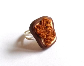 Toast Ring Peanut Butter Toast ( polymer clay miniature food funky jewelry fimo cute jewelry gift for girl silver adjustable ring kawaii )