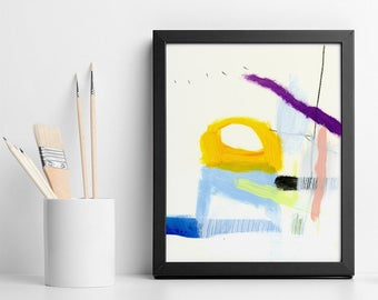 """Small ABSTRACT PAINTING Colorful Original wall art gifts """"California Trip 09"""" bold Yellow and blue by Duealberi"""
