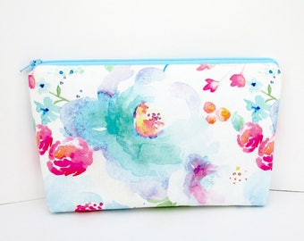 Cosmetic Bag, Make Up Zipper Pouch, Tropical Floral Daydream, Indy Bloom, Pale Blue Watercolor Floral, The Pretties, Bridesmaid Gift
