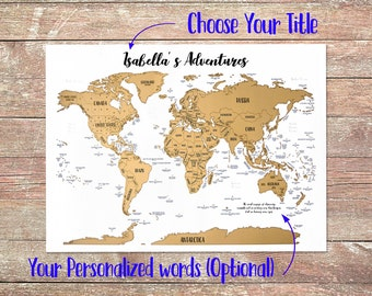 Custom world map etsy scratch off personalized map a world of adventures golden scratch off gumiabroncs Gallery