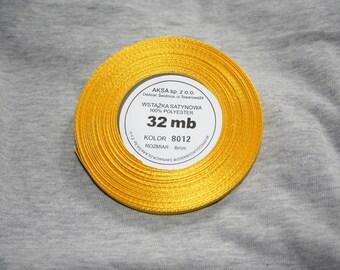 32 meters of 6 mm yellow satin ribbon