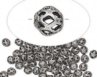 Filigree Beads, cut out beads, antiqued silver beads, small beads, 4mm, 30 each, D735