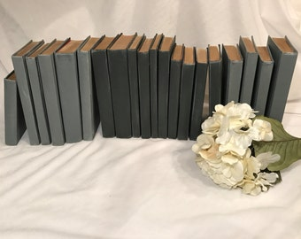 Farmhouse Decor, Ruatic Wedding Decor, Vintage Wedding, Black Books, Rustic Decor, Painted Books, Gray Books, Black Books