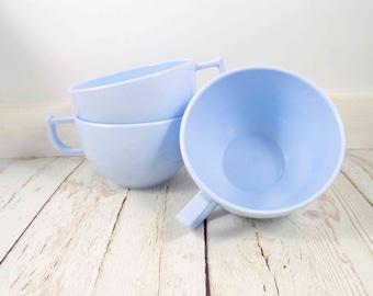 Light Blue Melmac Cups,Trumpet Ware,melamine,plastic,coffee cup,tea cups,mid century modern,melmac cups,diner cups,drink ware,Trump Plastics