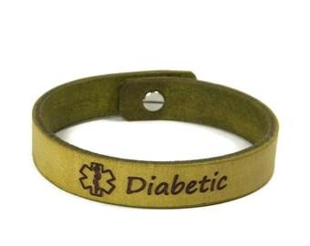 Diabetes Bracelet Leather, Medic Alert Bracelet, Engraved Diabetic Bracelet, Medical Alert Bracelet, Leather ID Bracelet, European Leather