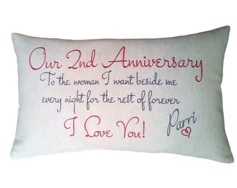 "Personalised 2nd Second Anniversary Cushion Cover Embroidered on Cotton Linen,  11""x19"" Bolster - Colour Options Available"