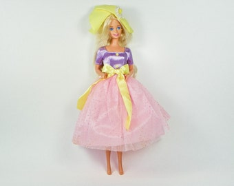 1995 Spring Blossom Barbie Doll  - Avon Special Limited Doll - 1990s Mattel - Fashion Doll - Original Purple Yellow Outfit